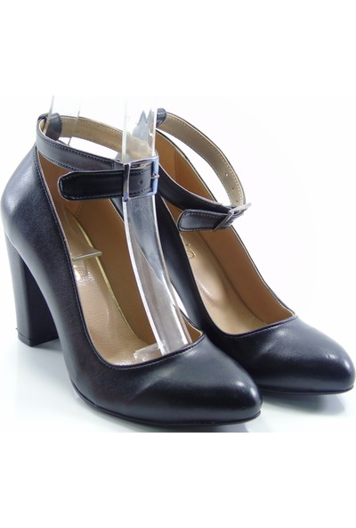 Stella Di More Siyah 2328 Bilekten Bağlı Topuklu Kadın Ayakkabı