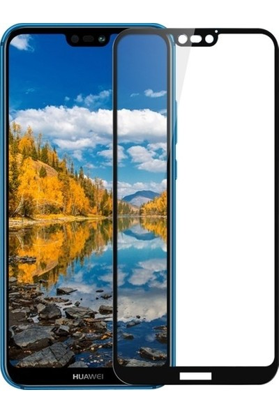 Herdem Huawei P20 Lite Ekran Koruyucu Tam Kaplayan Esnek Fiber Nano Siyah