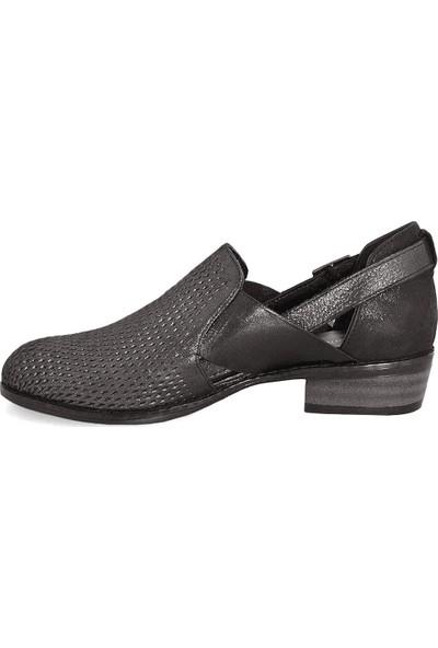 Mammamia 3670 Deri Kadın Ayakkabı Çelik Simli / Siyah Simli 38