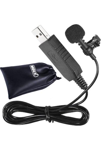 Midex MX1 Youtuber Bilgisayar PC Usb Yaka Mikrofonu