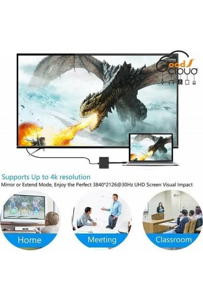 CoverZone AP-10 4K Type-C HDMI Görüntü Aktarım Kablosu USB Hub 3.0