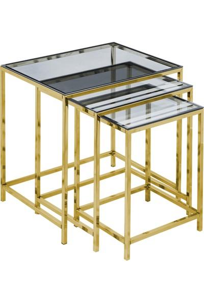 Diamond Altın Sarısı Füme Cam Zigon Sehpa 3'lü