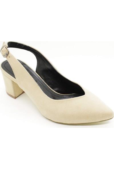 Beety 0611 Kadın Ten Süet Renk Kalın Kısa Topuklu Bilekten Bağlamalı Stiletto Ayakkabı