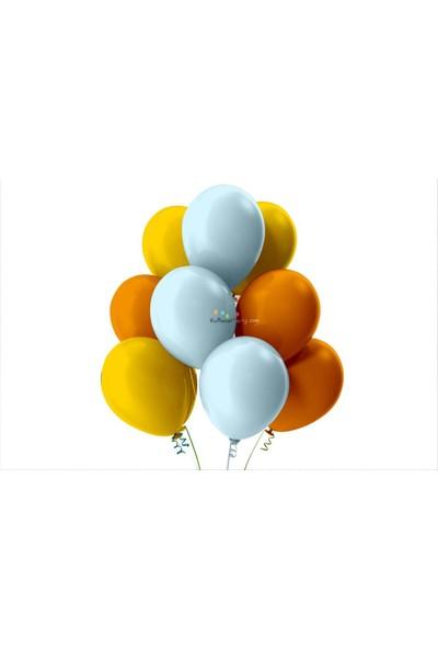 Kullan At Party Altın-Bebek Mavisi-Turuncu Pastel Soft Balon