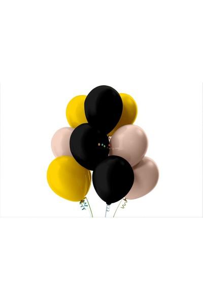 Kullan At Party Altın-Bebek Pembesi-Siyah Pastel Soft Balon
