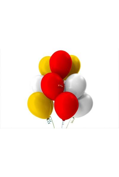 Kullan At Party Altın-Beyaz-Kırmızı Pastel Soft Balon