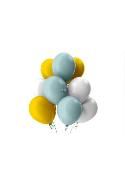 Kullan At Party Altın-Beyaz-Mint Yeşili Pastel Soft Balon