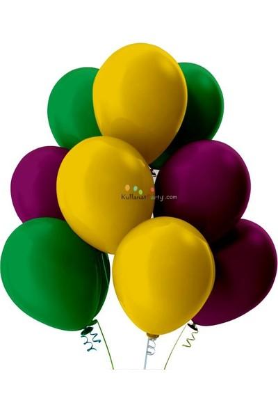 Kullan At Party Açık Yeşil-Altın-Mor Pastel Soft Balon