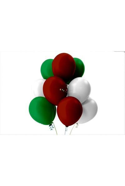 Kullan At Party Açık Yeşil-Beyaz-Bordo Pastel Soft Balon