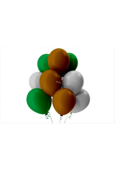Kullan At Party Açık Yeşil-Gümüş-Kahverengi Pastel Soft Balon