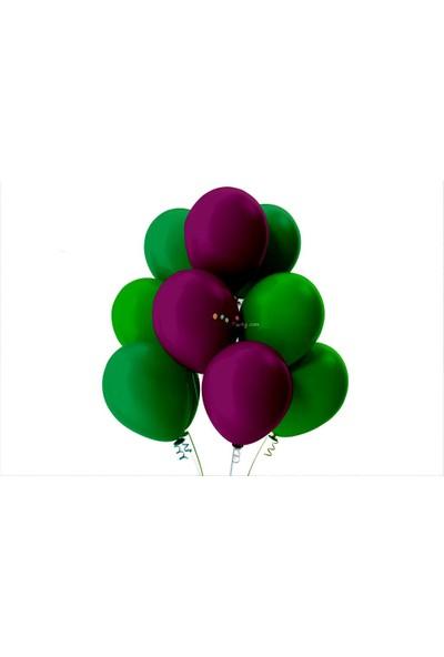 Kullan At Party Açık Yeşil-Koyu Yeşil-Mor Pastel Soft Balon