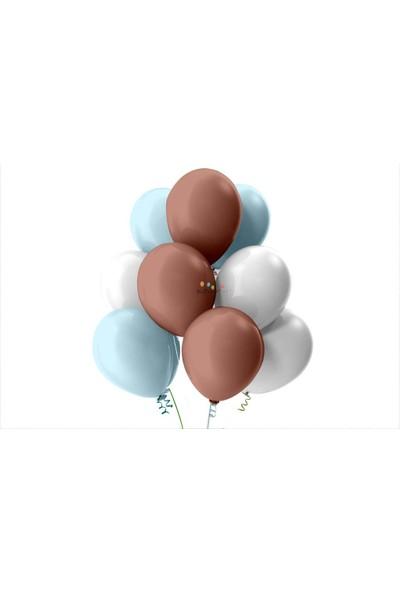 Kullan At Party Bebek Mavisi-Beyaz-Rose Gold Pastel Soft Balon