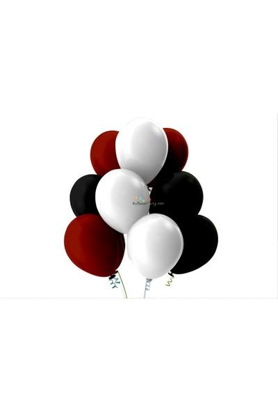 Kullan At Party Beyaz-Bordo-Siyah Pastel Soft Balon