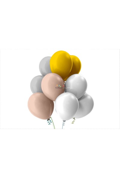 Kullan At Party Altın-Gümüş-Beyaz-Bebek Pembesi Pastel Soft Balon