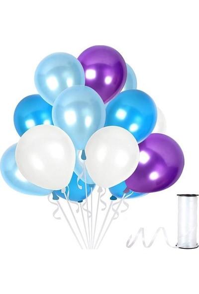 Kullan At Party Beyaz-Bebek Mavisi-Mor Metalik Sedefli Balon