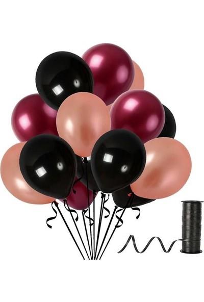 Kullan At Party Bordo-Rose Gold-Siyah Metalik Sedefli Balon