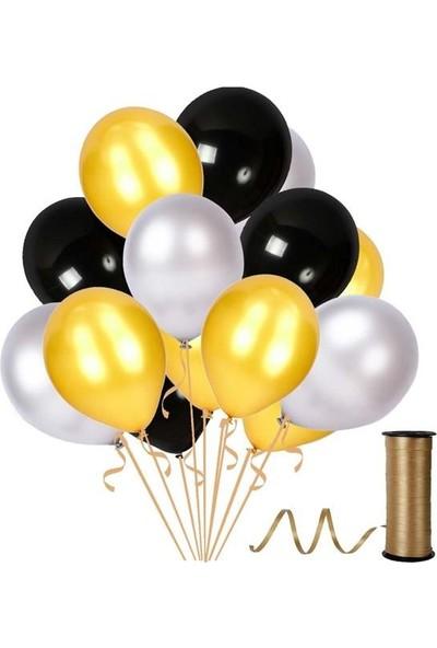 Kullan At Party Altın-Gümüş-Siyah Metalik Sedefli Balon