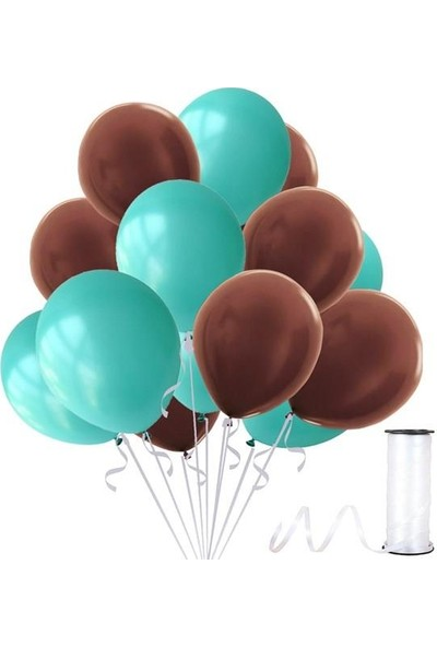 Kullan At Party Kahverengi-Mint Su Yeşili Metalik Sedefli Balon