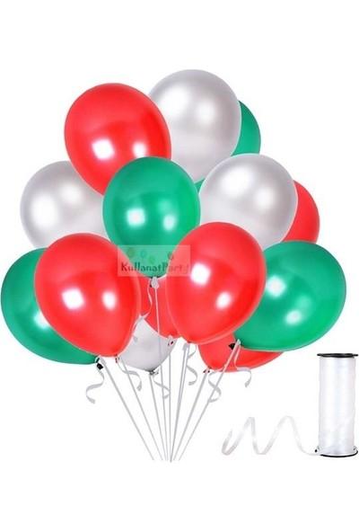 Kullan At Party Kırmızı-Gümüş-Yeşil Metalik Sedefli Balon