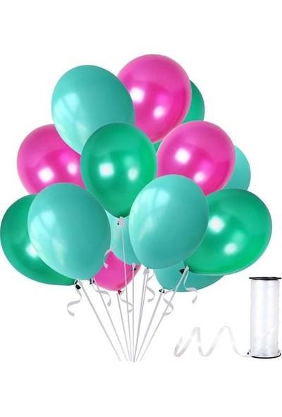 Kullan At Party Mint Su Yeşili-Fuşya-Yeşil Metalik Sedefli Balon