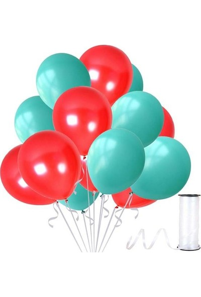 Kullan At Party Mint Su Yeşili-Kırmızı Metalik Sedefli Balon