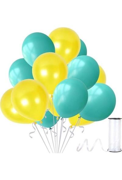 Kullan At Party Mint Su Yeşili-Sarı Metalik Sedefli Balon