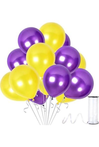 Kullan At Party Mor-Sarı Metalik Sedefli Balon