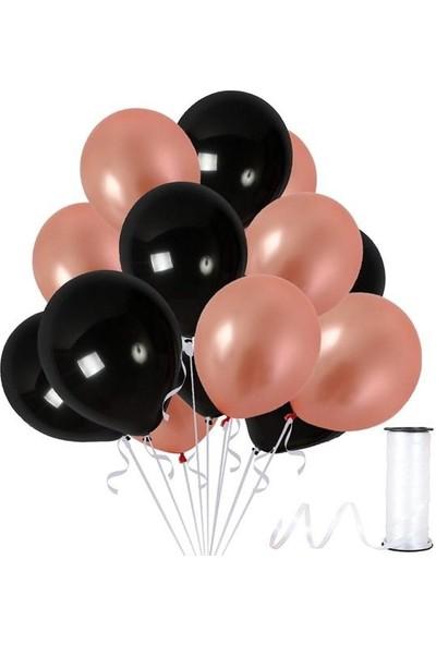 Kullan At Party Rose Gold-Siyah Metalik Sedefli Balon