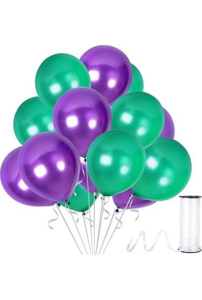 Kullan At Party Yeşil-Mor Metalik Sedefli Balon