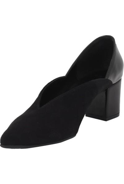 Marcamiss Siyah Süet Kadın Stiletto Ayakkabı 7435