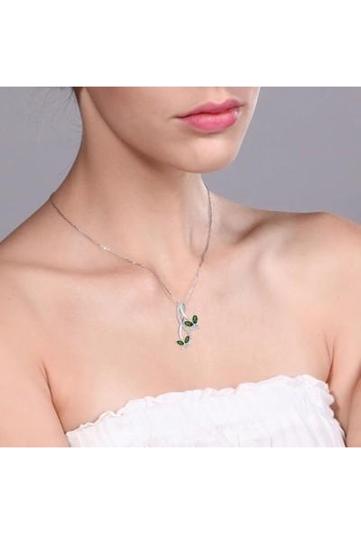 Enes Store Sonsuzluk Pırlanta Model Zümrüt Taşlı Kelebek Bayan Gümüş Kolye