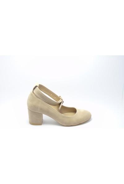 Stella di More 2365 Süet Vizon Bilekten Bağlı Topuklu Ayakkabı