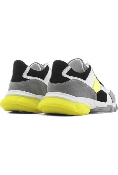 İlvi Carlotta Erkek Spor Ayakkabı Gri-Beyaz-Neon