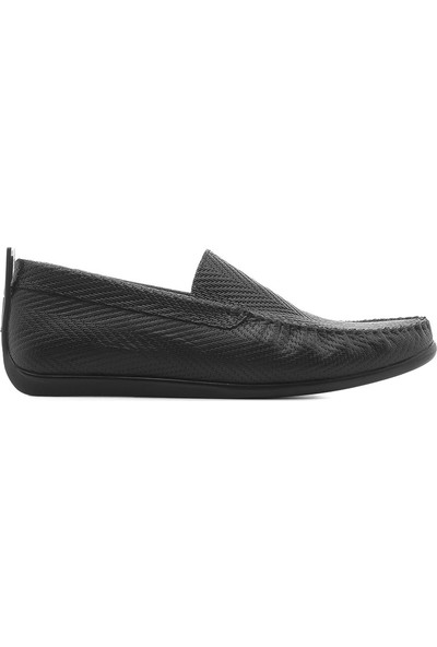 İlvi Adal Erkek Makosen Ayakkabı Siyah Deri