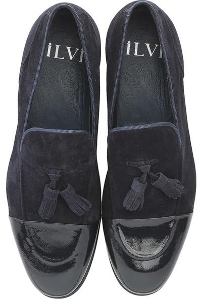 İlvi Ricarda Erkek Makosen Ayakkabı Lacivert Kırışık Rugan