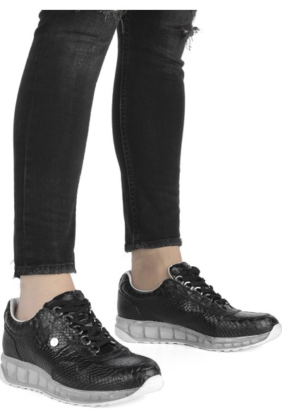 İlvi Renalda Erkek Spor Ayakkabı Siyah Kroko