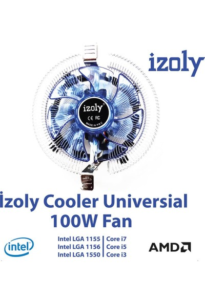 Izoly Cooler Universal LED (775 115X-AMD)PIN 100W Işemci Fanı