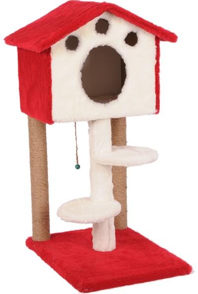Cat Hause Kedi Tırmalama Platformlu Ev S6 Kırmızı 98 cm