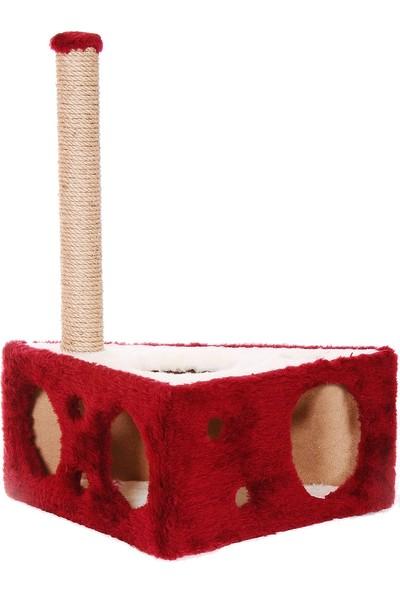 Cat Hause Kedi Tırmalama Platformu Peynir Kırmızı 67 cm