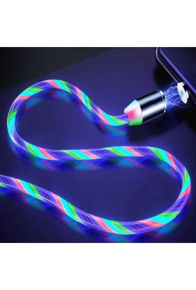 Judas Magnetic Akan LED Işıklı Hızlı Şarj Kablo 1 mt - Çok Renkli