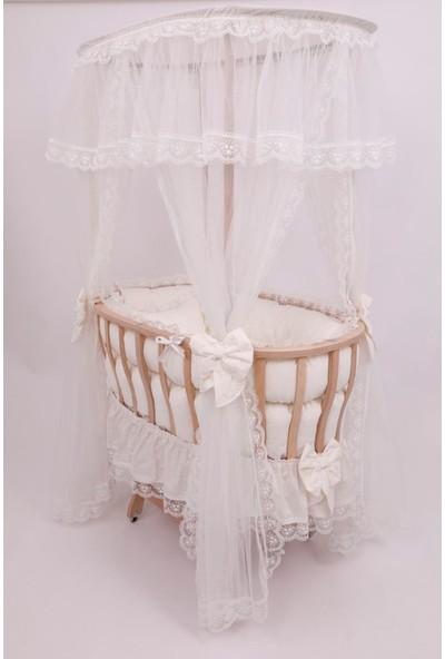 Bebekonfor Krem Fransız Dantel Uyku Set Doğal Ahşap Çatılı Sepet Beşik 107*70