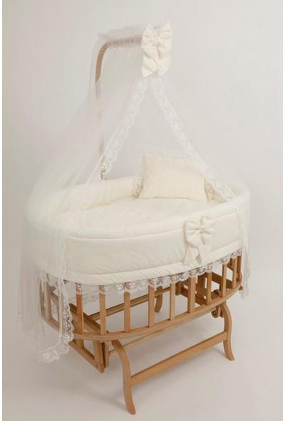 Bebekonfor Krem Fransız Uyku Seti ile Amedan Gold Sepet Bebek Beşikleri 107*70
