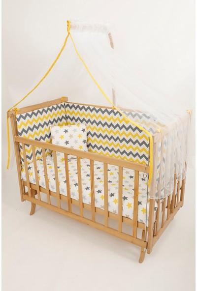 Bebekonfor Sarı Zigzag Uyku Setli Doğal Karyola Beşik 60*120