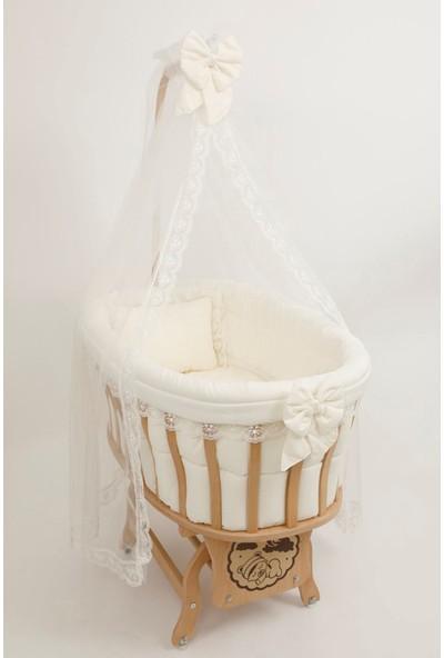 Bebekonfor Krem Fransız Dantelli Uyku Seti ile Doğal Ahşap Sepet Bebek Beşik 63*100