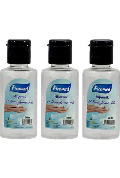 Ficomed Antibakteriyel El Temizleme Jeli 50 ml 3 Paket
