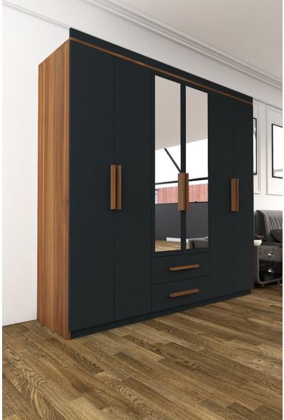 Hepsi Home Armina Lüx 6 Kapı 2 Çekmeceli Aynalı Gardrop