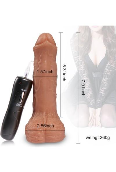 Xise Hareketli Baş Kısımlı 6 Mod ve 6 Hıza Sahip 18 cm Titreşimli Penis + Jel