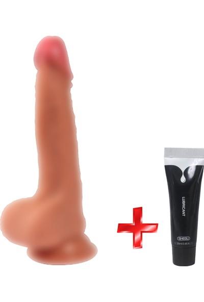 Xise Özel Malzemeden Ekstra Gerçekci Yumuşak 19 cm Realistik Dildo + Jel