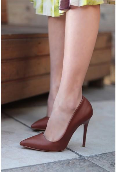 Trendbu Ayakkabı Kahverengi Kadın Topuklu Ayakkabı 36