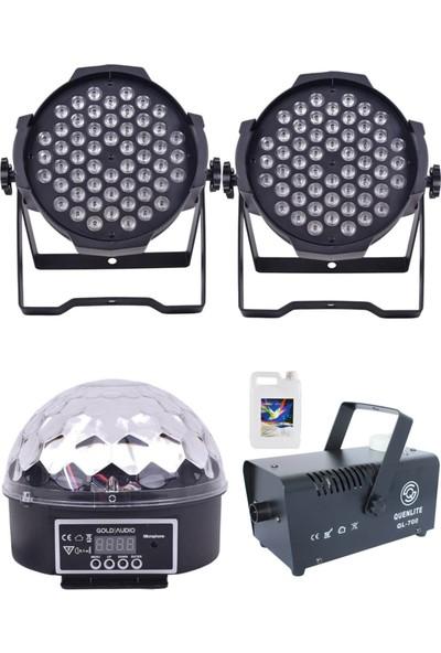 Quenlite Free Paket-2 Sahne Işık Sistemi Seti ( Top Küre Led Par Sis Makinası)